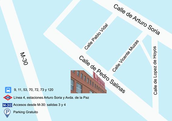 Ubicación Centro de Formación de la Cámara de Comercio de Madrid